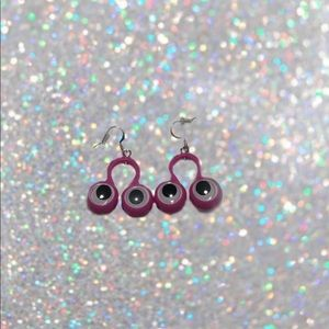 Handmade purple googly eye earrings!